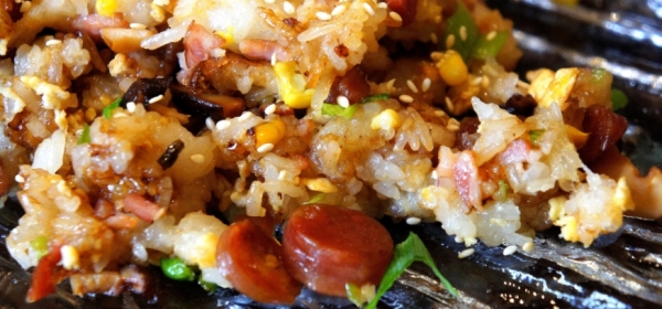 Sticky rice with Chinese sausage and mushroom