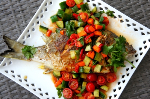 Pan fried fish with chili and tomato sauce, FODMAP friendly