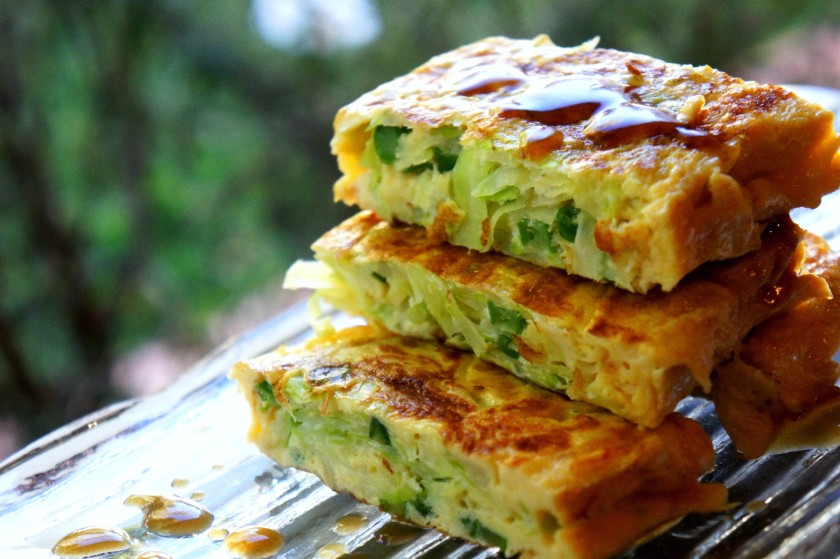 Asian style omelet with cabbage and oyster sauce