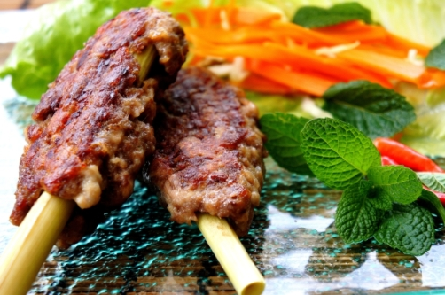 Asian style kebab on lemongrass stick (low FODMAP, gluten free)