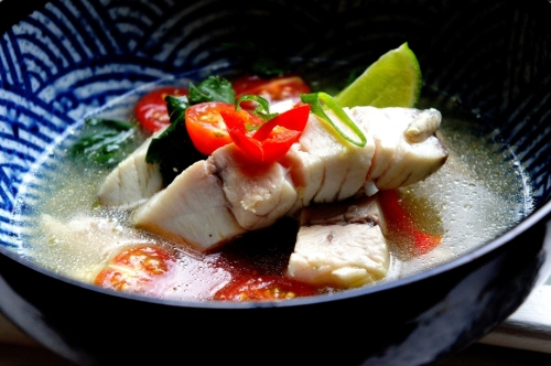 Barramundi in an Asian spiced broth (low FODMAP, Gluten Free)