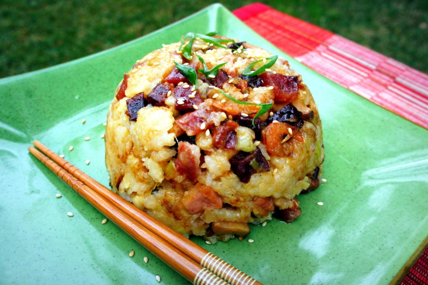 Glutinous rice with Chinese pork sausages, bacon and Chinese mushrooms