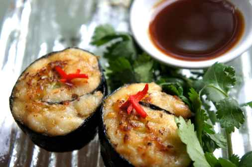Whiting nori rolls with cabbage and coriander