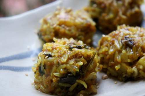 Glutinous rice balls with beef and potato, spiced with cumin and turmeric, FODMAP Friendly