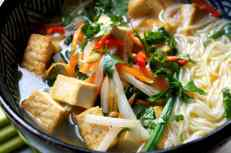 Tofu and rice noodle soup, with radish, carrot, spinach, low FODMAP, gluten free, vegan