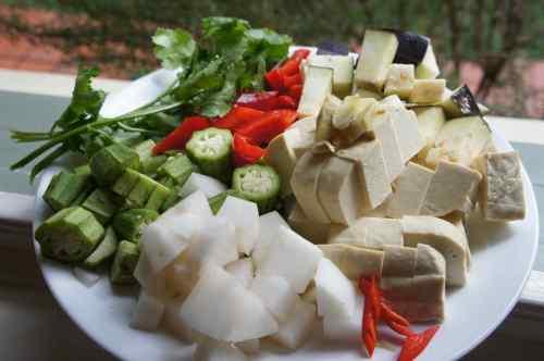 Ingredients for tofu chop suey, FODMAP diet, gluten free, vegan