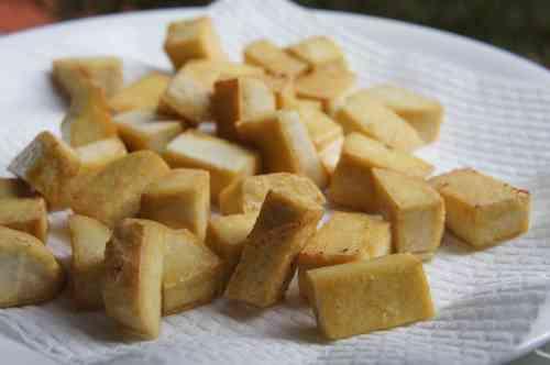 Extra furn tofu cube, pan fried , FODMAP diet