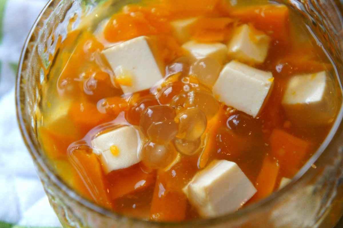 Tofu, pumpkin, ginger, tapioca pudding
