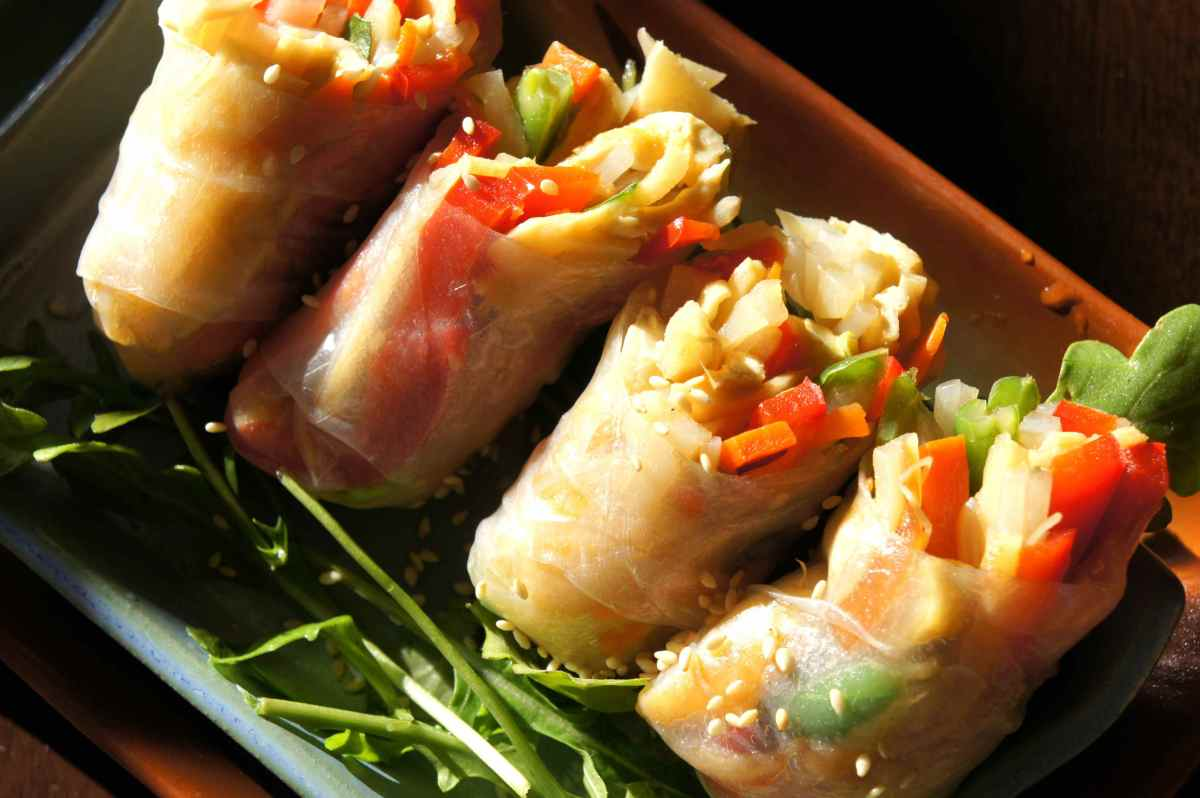 Rice Paper Rolls With Tofu Bamboo Shoot Bean Sprout And Sesame Low Fodmap Gluten Free Vegan