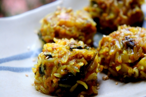 Glutinous rice balls with beef and potato, spiced with cumin and turmeric (low FODMAP, Gluten Free)