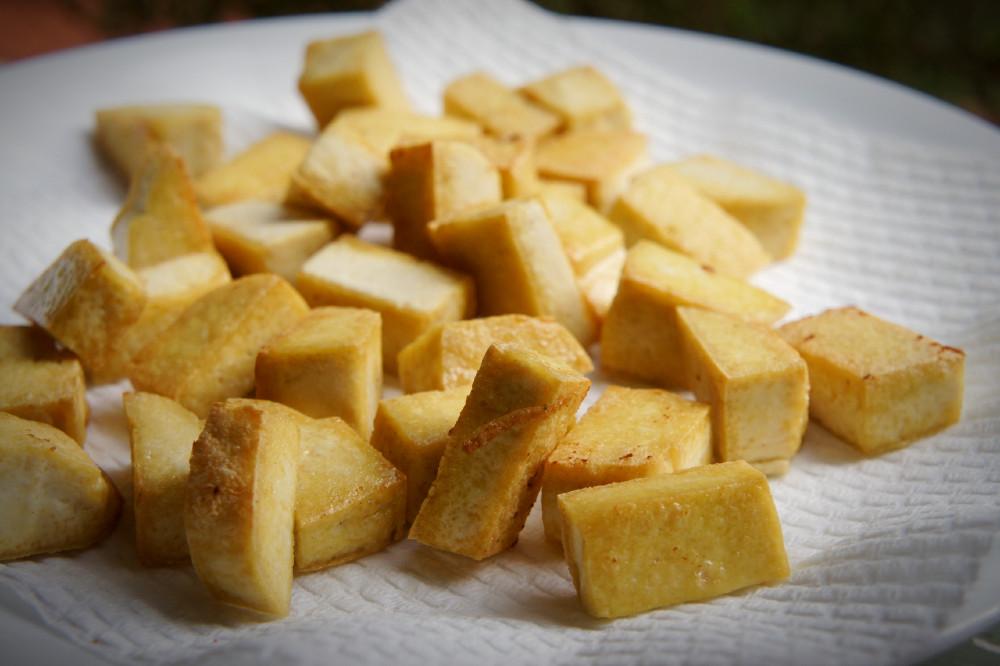 Extra-firm plain tofu cubes, pan-fried