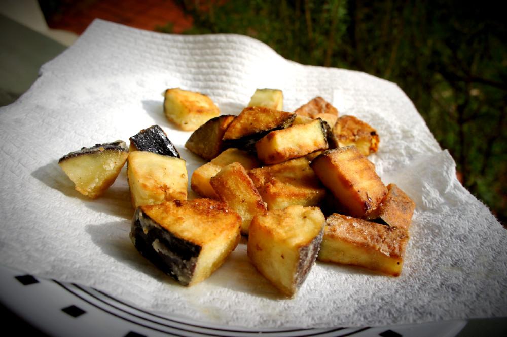 Tofu chop suey ingredients - pan-fried eggplant