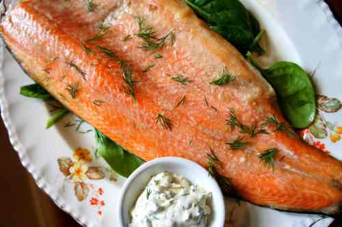Lightly smoked rainbow trout