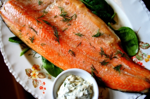 Lightly smoked rainbow trout fillets (gluten free)