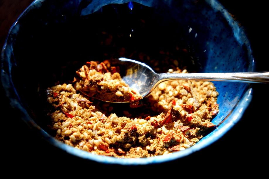 Spice mix for lamb kebab - cumin, Sichuan pepper, chili flake, sesame seeds and coriander seeds