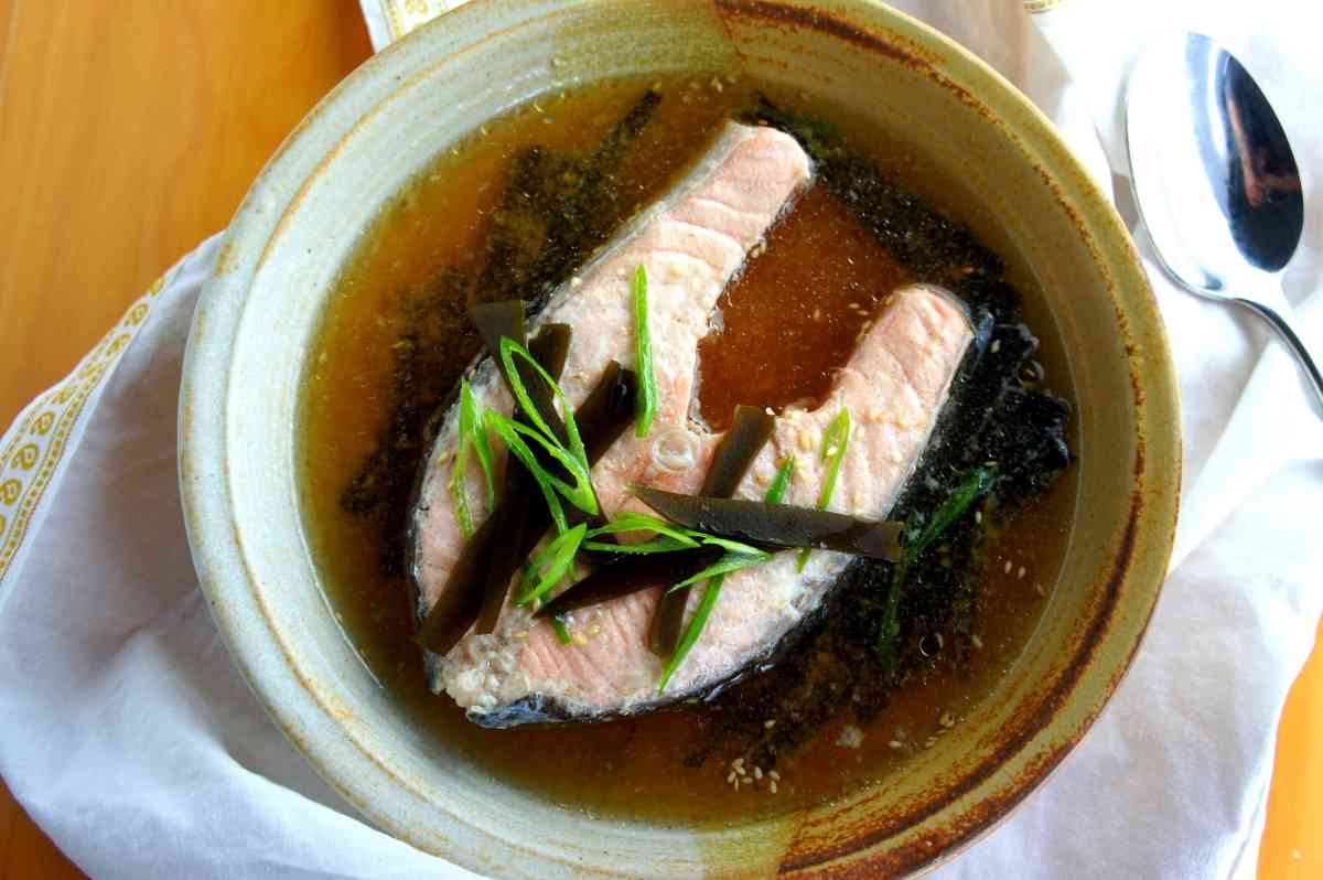 Poached salmon in a bonito flake & kelp broth (dashi, gluten free)