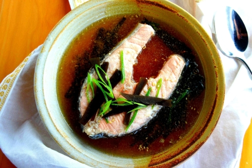 Poached salmon in a bonito and kelp broth (gluten free)