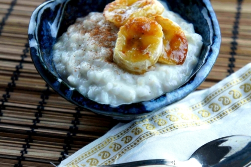 Rice pudding with banana and coconut (low FODMAP, gluten free, vegan)