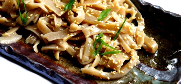Homemade buckwheat noodles with soy sauce and sesame oil (low FODMAP, gluten free, vegan)