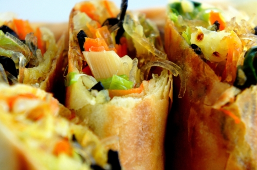 Pan fried spring rolls with vegetables and shrimp shells