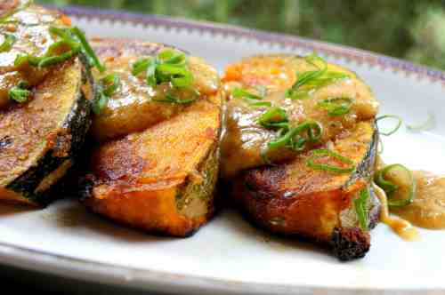 Pan fried pumpkin with miso sauce, gluten free