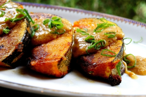 Pan fried pumpkin with a miso sauce (gluten free, vegan)