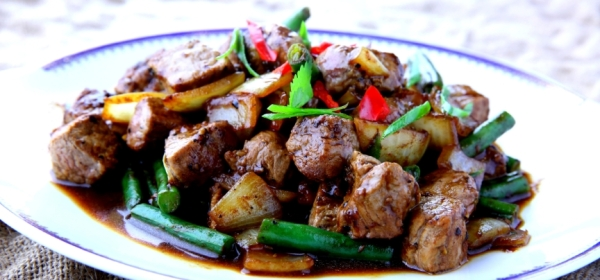 Vietnamese black pepper beef Bo Luc Lac