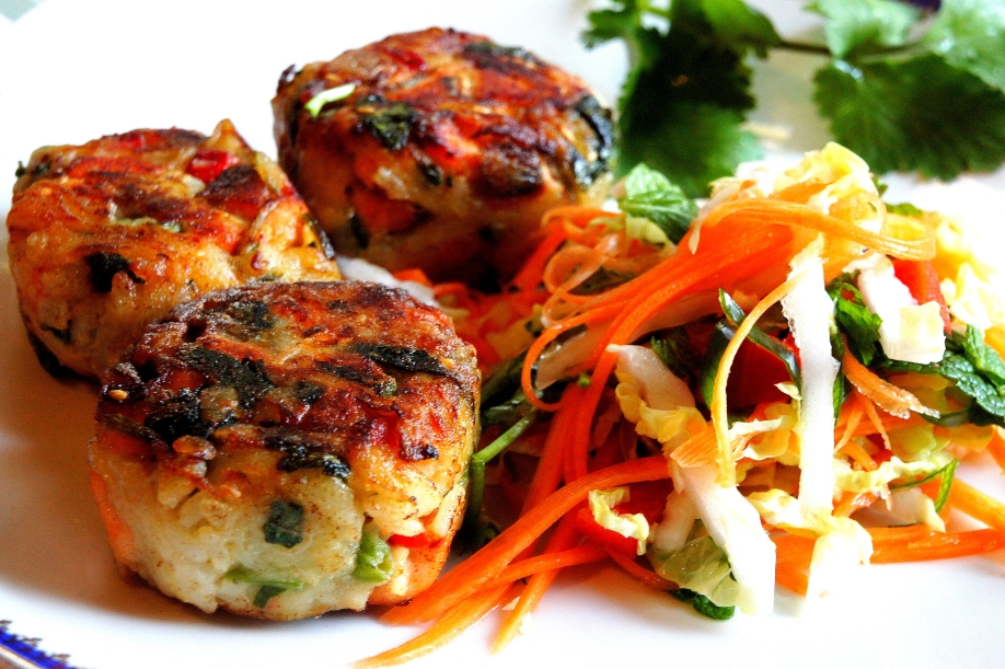 Pan fried fish & potato cake with Asian coleslaw (low FODMAP, gluten free)