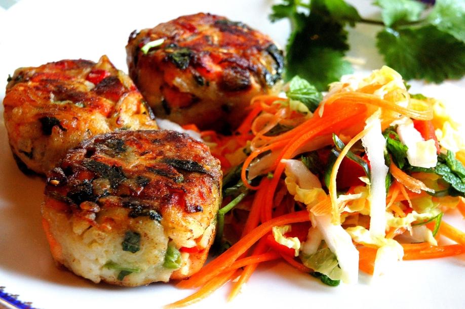 Pan fried fish & potato cake with Asian coleslaw (low FODMAP, gluten free)