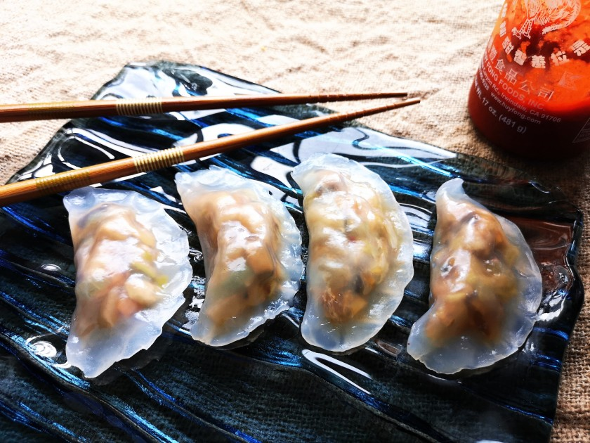 Fun guo dumplings with chicken, tofu, Chinese mushroom, shrimp shell, bamboo shoot, peanuts and salted vegetables