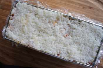 Sushi terrine with vegetables - rice as the last layer