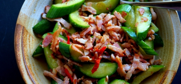 Stir fried cucumbers with bacon (gluten free)