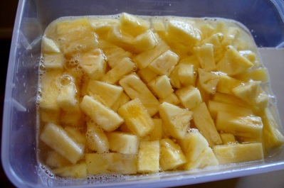 Fresh pineapple soaked in salted water for extra sweetness