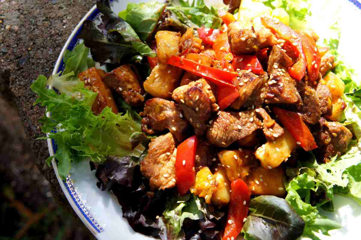 Sweet sour pork with pineapple, tamarind, oranage and strawberry jam