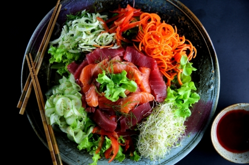Prosperity toss ('yee sang' 捞生) for Chinese new year (low FODMAP, gluten free)