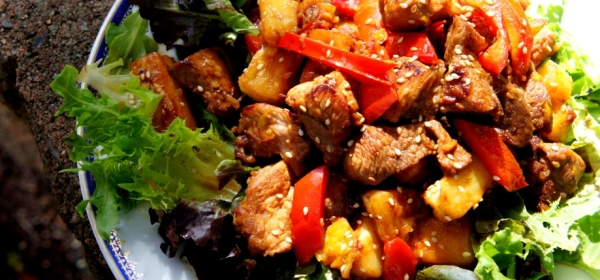 Sweet and sour pork with tamarind,orange and pineapple (low FODMAP, gluten free)