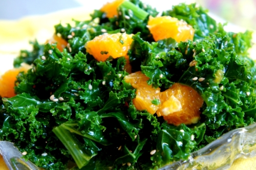 Kale with orange and sesame (low FODMAP, vegan, gluten free)