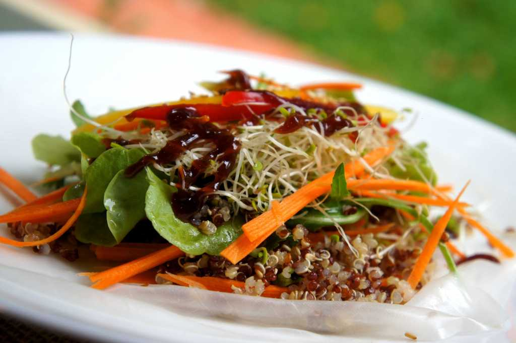 Rice paper roll with quinoa, coriander, alfalfa, carrot, lettuce, capsicum, sesame seed and sesame oil