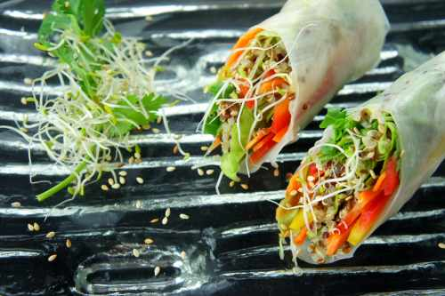 Rice paper roll with quinoa, coriander, alfalfa, lettuce, carrot, capsicum and sesame seeds