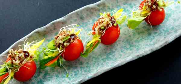 Cherry tomato 'sandwich' with quinoa, coriander and alfalfa, low FODMAP, vegan, gluten free