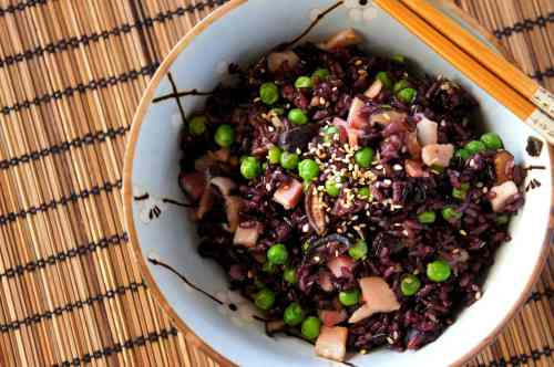Rice 'salad' with bacon and Chinese mushroom (gluten free)