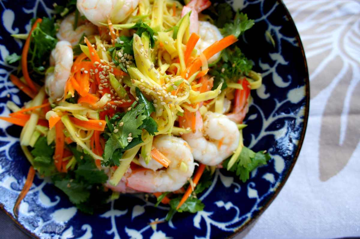 Tangy green mango salad with prawns, gluten free