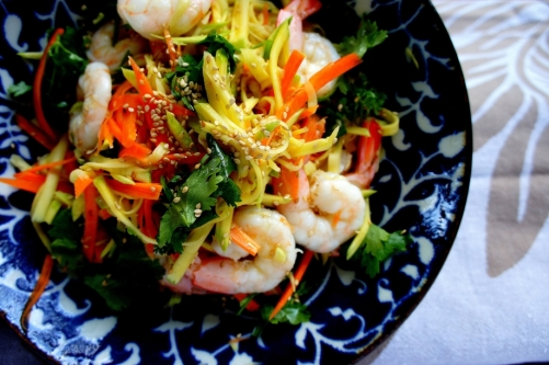 Tangy green mango salad with prawns (gluten free)