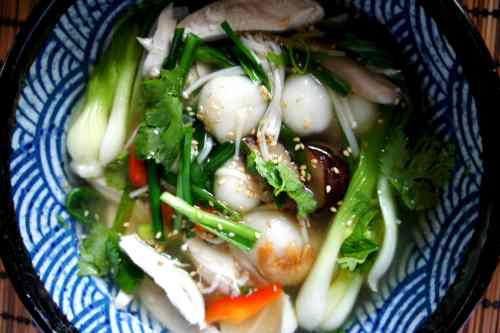 Chicken TangYuan soup with dried shrimps, Chinese mushrooms, enoki mushroom, garlic chive and bok choy