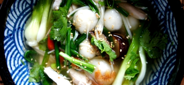 Chicken TangYuan soup with dried shrimps, mushrooms, garlic chive and bok choy (gluten free)