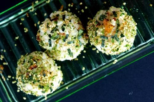 Rice balls with wasabi furikake seasoning