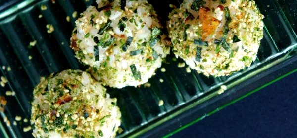 Rice balls with wasabi furikake seasoning