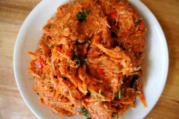 Lamb mince paste with pumpkin, rice vermicelli, carrot, capsicum #lowfodmap #glutenfree