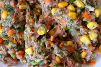 Dumpling filling - pork, fennel, corn, carrot, green shallot
