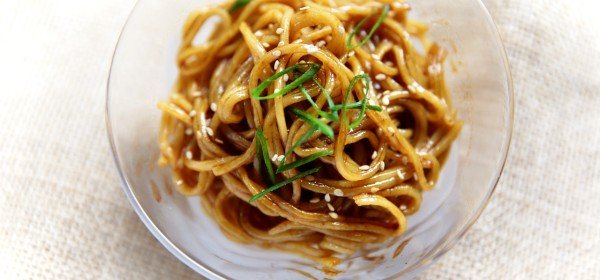 Homemade wheat noodles with soy sauce and sesame oil